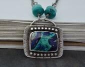 Azurite Malachite Necklace. Statement Necklace. Southwestern Blue Green Pendant Necklace. Metalsmith Jewelry.