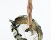 Monster Eye Salt Pig with Spoon, Small Wrinkled Pottery Bowl. Rustic, Primitive,  Hobbit Tableware, Salt Cellar, brown tan blue grey