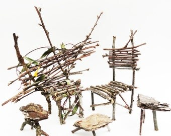 Rustic Primitive Mini Table, Wood Twig Furniture, Fairy Table, Fae Coffetable, Faery Bedside Stand, Brown