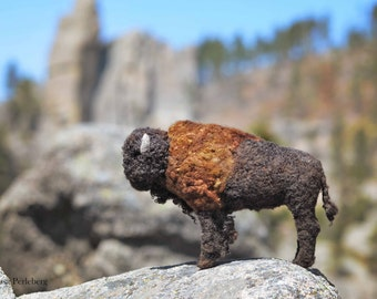 Bison - Needle Felted Sculpture - Solid Wool Buffalo