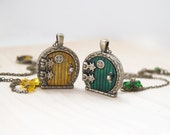 Yellow and Green Door Lockets - BFF Necklaces