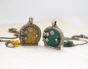 Yellow and Green Door Lockets | BFF Necklaces | Fantasy Door Necklace | Brass Tolkien Door Charm