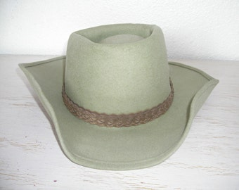 light green eddy hat coburn style with braided suede hatband and feathers - eddy bros felted wool country cowboy hat - outdoor roadtrip hat