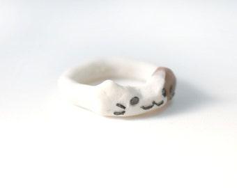 Kawaii Kitty Doughnut Ring, Miniature Food Jewelry, Polymer Clay Food Jewelry, Donut