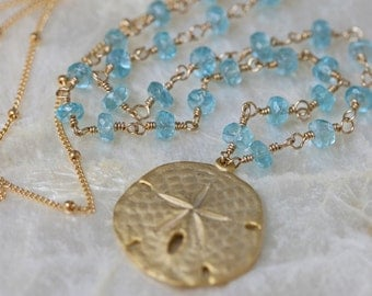 Sand Dollar Necklace - Long Gold Necklace - Ocean Jewelry- Ready to Ship -