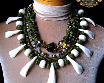 Buffalo Teeth Bone Tribal Statement Necklace Green Garnet African Recycled Glass Pagan Amulet Ritual Pendant Boho Chic by Spinning Castle