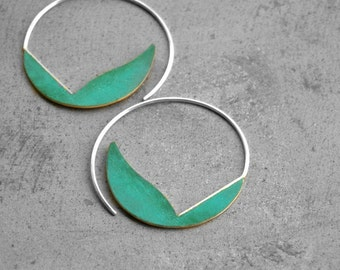 Verdigris Curvy Hoops - brass earrings sterling silver hoop earrings, bohemian earrings, turquoise earrings, blue green patina, made inItaly