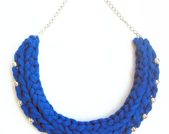 Cobalt Statement Necklace, Tshirt yarn Necklace, Klein blue Necklace, Electric Blue Necklace, Bib Necklace, Woman Cotton Anniversary Gift