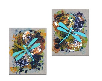 Dragonfly Painting Colorful Art Diptych Home Decor Original Canvas Wall Art