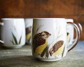 Vintage Quail Mugs   Stoneware Coffee Cups   Autumn Entertaining   Fall Birds   Coffee Break   Rustic Kitchen Decor   Set of 4 Hot Chocolate