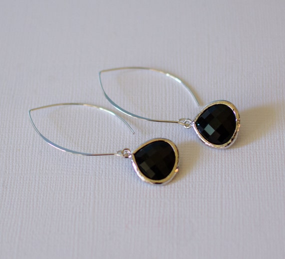 Teardrop Earrings, Black, Sterling Silver, Unique, abstract, nature, beach-inspired, faceted, glass, drop,  jewelry,  Handmade in Santa Cruz