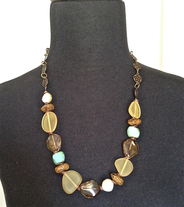 Necklace Beads: Women Beaded Jewelry Sea Glass Necklace Czech Beads Handmade
