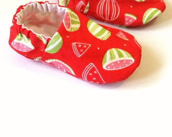 Reversible Baby Shoes, Watermelon Scented