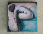 Woman After Her Bath, Small Original Oil Collage Painting