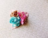 Lipstick Pink Turquoise blue Malt Roses Lilies Handmade Millinery Corsage baby kids hair bow headband ooak clip supply Vintage Style Flowers