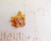 Malt Golden Yellow Millinery Flower Brooch ~Velveteen Chenille Rosette pin, glass beaded stamens, velvet wedding accessory Victorian trim