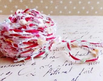 Cherry red Tutti Frutti multicolor Confetti Twist novelty ribbon- fiber art european specialty trim scrapbook embellishment gift wrap supply