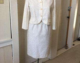 1960s Cream Brocade 2pc Suit Skirt and Jacket Rhonda Lee Size 14