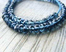 London Blue Topaz Rondelles, Faceted Blue Topaz Rondelles, Blue Topaz Faceted Rondelles, 4mm, 3 in. strand, AA-AAA, 10% off use code SAVE10