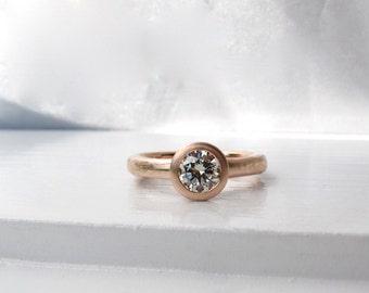 Spring Evening Ring, 14kt pink gold low profile bezel set diamond engagement solitaire
