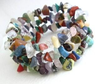 Boho Rainbow Bracelet, Memory Wire Cuff, Semi Precious Gemstone Jewelry