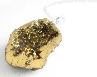 Drusy Geode Necklace, Metallic Gold Pendant, Crystal Druzy Jewelry