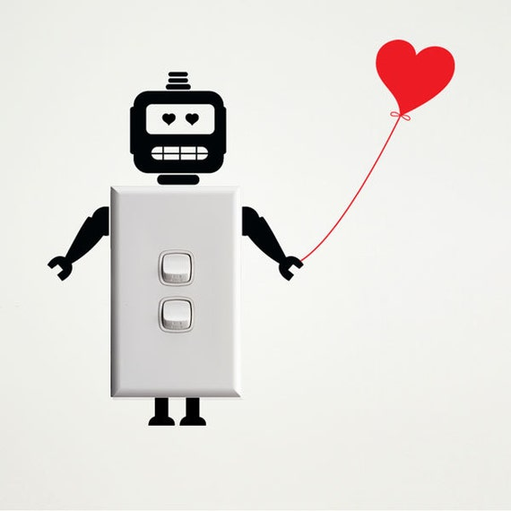 Wall Light Switches Us : Robot with Heart Wall Decal for Light Switches