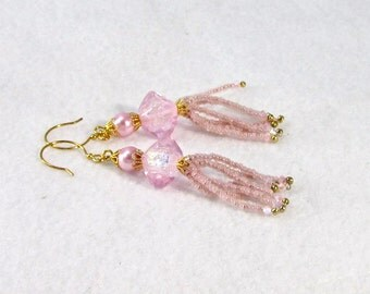 Pink Champagne Lampwork earrings, dangle earrings, dichroic glass beads, crystal, baby pink, ethereal, Xanna Jewelry box