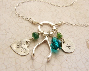 Personalized necklace, birthstone jewelry, Initial necklace, heart jewelry, Emerald wishbone charm necklace, Mother and Child necklace