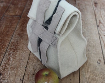 Wool Lunch Sack - Insulating Snack Bag - Classic Brown Bag in Wool - Custom OSPREY