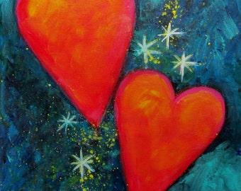 Free Shipping Evening Hearts and Starlight  Abstract Heart Art carolsuzannestudio