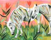 Magic Horses Horizontal Print  | Watercolor Painting | Katie Daisy | Colorful Wall art | 8x10 | 11x14