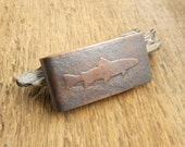 Trout money clip, gifts for men, fly fishing gift, trout fishing, fly fisherman gift, fish money clip, trout silhouette.
