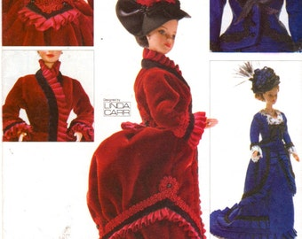 Vogue 7100 685  Historic Victorian Barbie Doll Clothes Pattern Bustle Dress Hat 11 1/2 Fashion Doll Designer  Sewing Pattern UNCUT