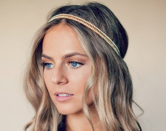 Bohemian Bead Hippie Headband - 3 colors available coral / white / mint