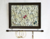 Brown Framed Jewelry Organizer- Branches- Upcycled 8x10 Picture Frame