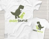 daddysaurus and babysaurus matching dad and kiddo t-shirt or bodysuit gift set for new daddy or Father's Day Dinosaur theme MDF1-016
