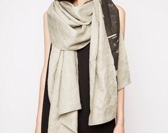 002 linen scarf print industrial