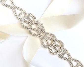 Silver Rhinestone Bow Wedding Dress Sash - Silver Rhinestone Encrusted Bridal Belt Sash - Crystal Extra Wide Wedding Belt