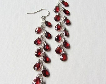 Red Garnet Earrings Extra Long Cascade Style - January Birthstone - Gemstone Jewelry Made in Seattle - Long Layer Earrings 11