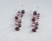 Garnet Earrings Cranberry Pearl Cascade Long Earring Sterling Dangle Garnet Gemstone Earring Plum Cluster Earring Bridal Pink Pearl Earring