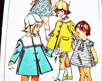 1960s Girls Dress Pattern with Coat and Hat size 1 Toddler Dress Pattern Vintage Sewing Pattern 60s