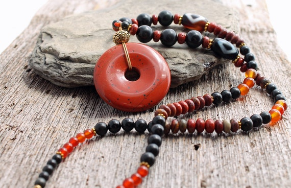 Red Jasper Necklace with Obsidian and Carnelian