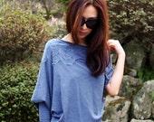 Women's cotton tshirt/ loose fit top / shredded tshirt - KT566