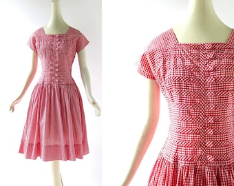 Vintage 50s Dress / Red Gingham Dress / 1950s Red Dress / Small S