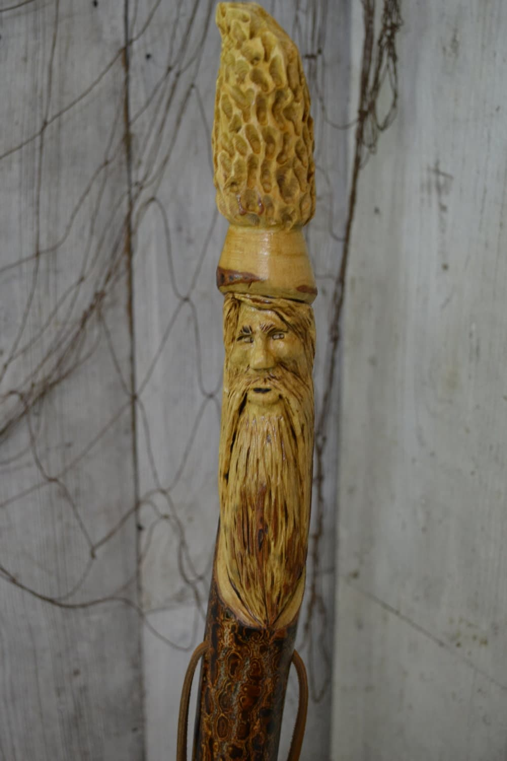 Double carved staff wood spirit walking stick carving hand