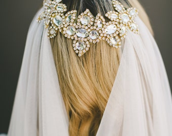 English Net Veil, Draped Veil, Wedding Veil, Bridal Veil, Gold Bridal Comb, Hair Accessory, Grecian Headpiece, Bridal Accessories #1569