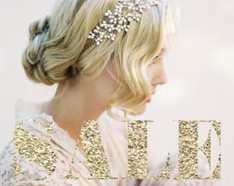 SALE Wedding Pearl Headband, Wedding Halo, Crystal Bridal Headband, Wedding Headpiece, Hair Vine, Bohemian Crown, Wedding Accessories 1503