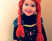 Crocheted Red Princess Wig with Braids, Fits Toddler-Adult
