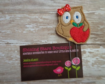 Fun Planner Clips - Light Brown Owl With A Red Apple Paper Clip Or Bookmark - Bookmark Accessory For Teachers Or Students For Back To School